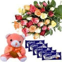 """Bouquet of 25 Mix Roses with 6"""" Cute teddy & 5 Small Cadbury"""