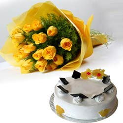 Bunch of 12 Yellow Roses & 1 kg Pineapple Cake