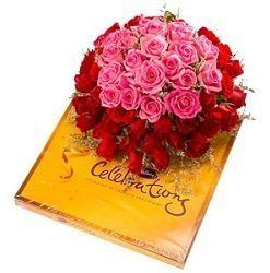 Bunch of 30 Roses & Celebrations Chocolate Box 200gm