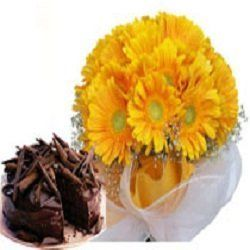 Delivery of Bunch of 10 Yellow Gerberas & 1 kg Chocolate Cake