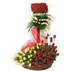 Designer Basket of 100 Red, White and Yellow Roses