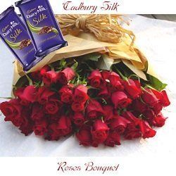 2 cadbury silk and 25 red roses bouquet in paper packing online