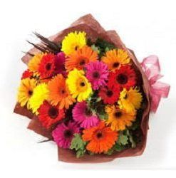 Bouquet of 24 Yellow, Red and Pink Gerberas