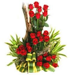 Beautifully decorated flowers basket of 25 roses