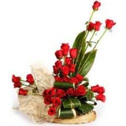 Lovey flowers basket arrangement of 30 roses