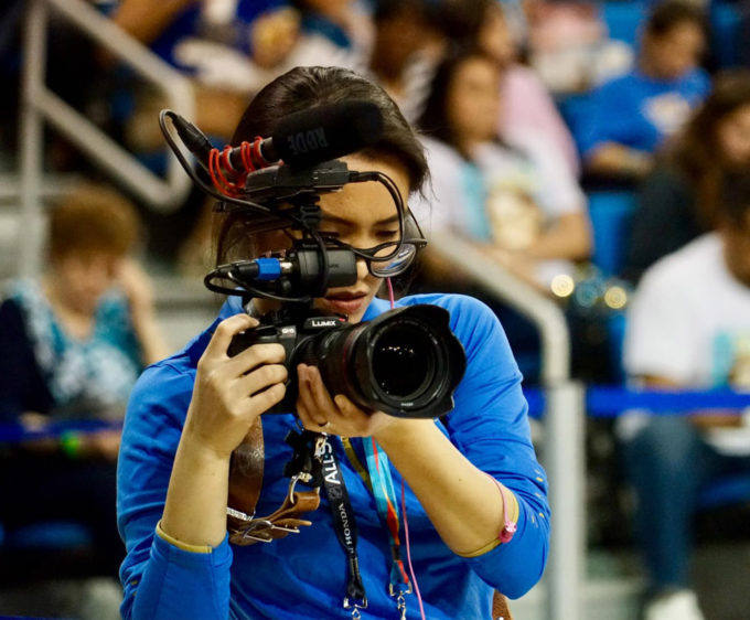 Videographer Deanna Hong with camera
