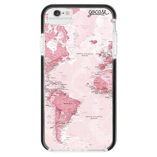 Capinha para celular Anti-Impacto PRO - Mapa Mundi Rosa