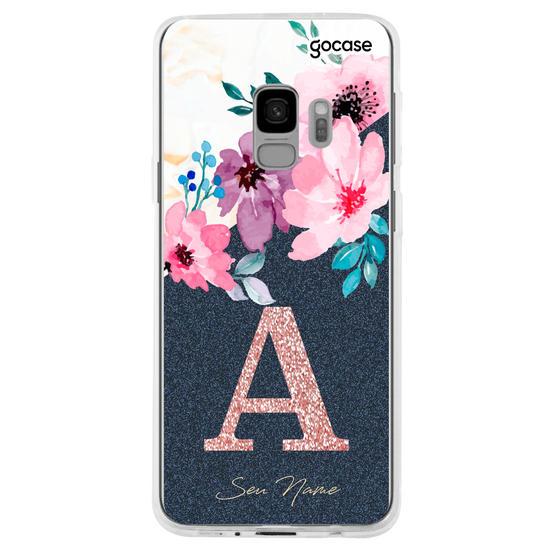 Capinha para celular Classical Flowers - Inicial Glitter