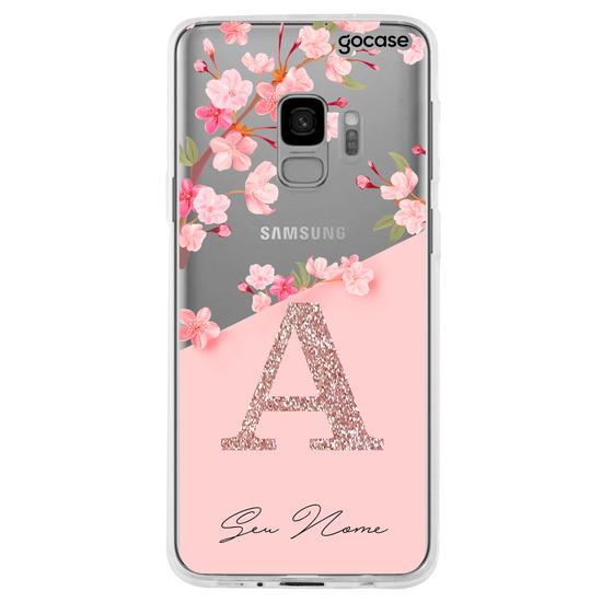 Capinha para celular Classical Rosé Inicial Glitter