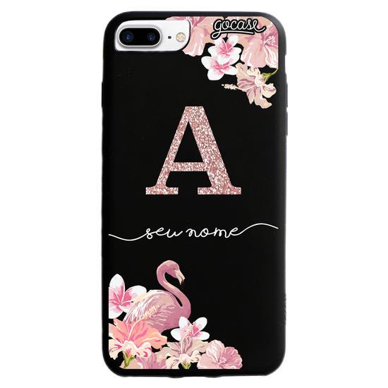 Capinha para celular  Color Black Flamingo glitter