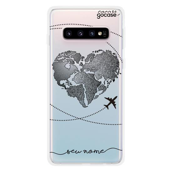Capinha para celular Coração Mapa Mundi (Black)
