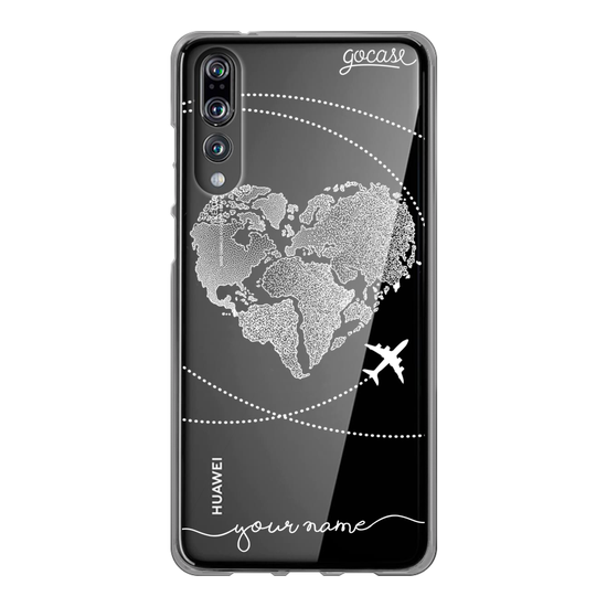 World Map Heart Handwritten (White) Phone Case