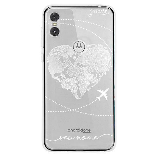 Capinha para celular Coração Mapa Mundi Manuscrita (White)