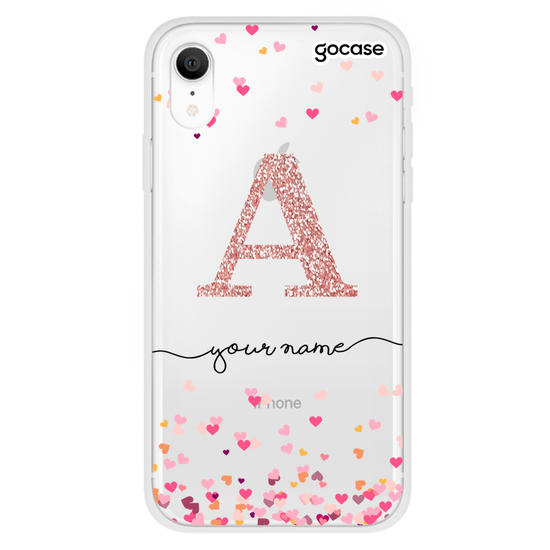 Hearts Handwritten - Initial Glitter Phone Case