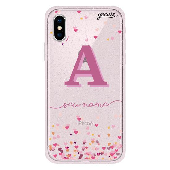 Capinha para celular Corações Flutuantes Inicial Pink