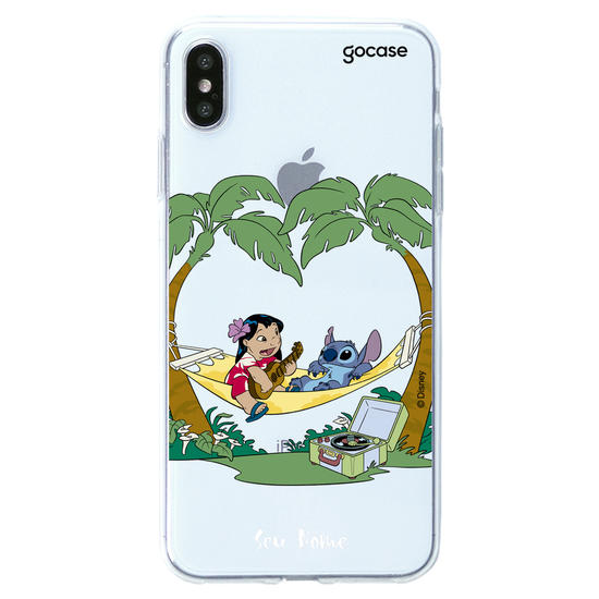 Capinha para celular Lilo e Stitch - Relaxando na Praia