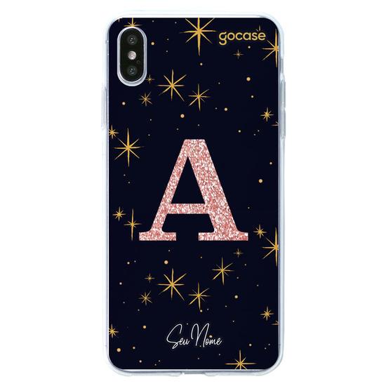 Capinha para celular Estrelado Místico - Inicial Glitter