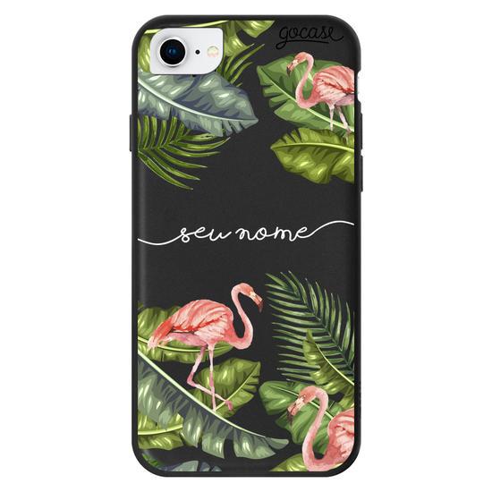 Capinha para celular Flamingos Tropicais Manuscrita