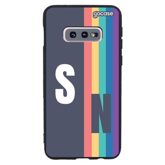 Capinha para celular Iniciais Arco-íris Vintage