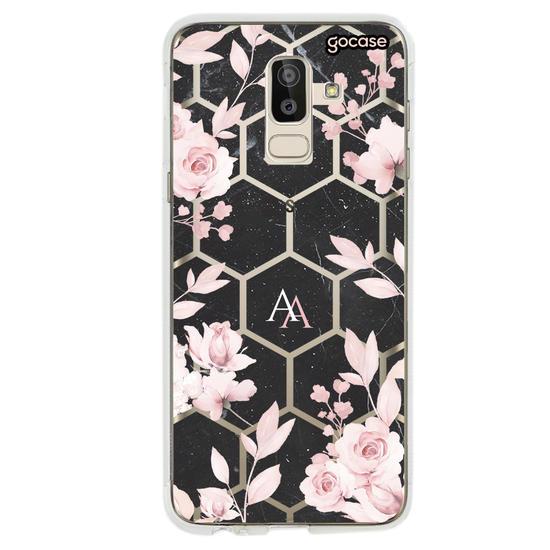Capinha para celular Iniciais Rosé Geométrico