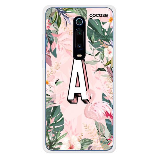 Capinha para celular Inicial Flamingo Tropical