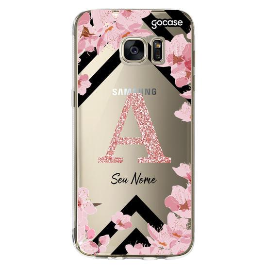 Capinha para celular Inicial Glitter Sakura Clean