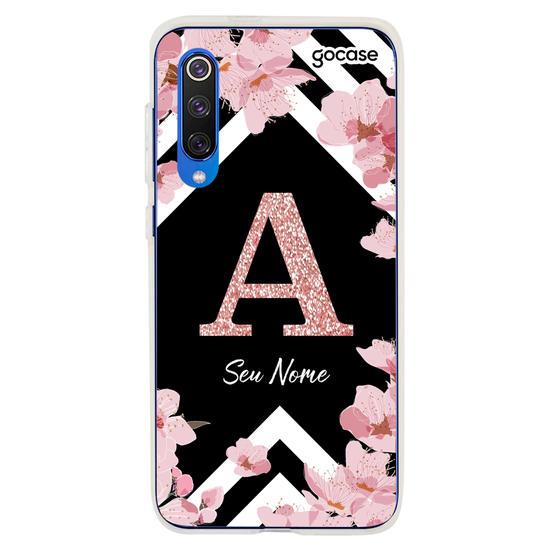 Capinha para celular Inicial Glitter Sakura