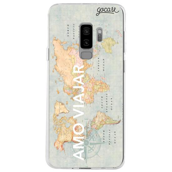 Capinha para celular Mapa Mundi Azul