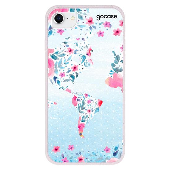 Capinha para celular Mapa Mundi Floral