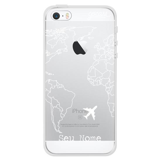 Capinha para celular Mapa Mundi Lines Customizável (White)