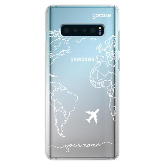 World Map Lines Handwritten (White) Phone Case