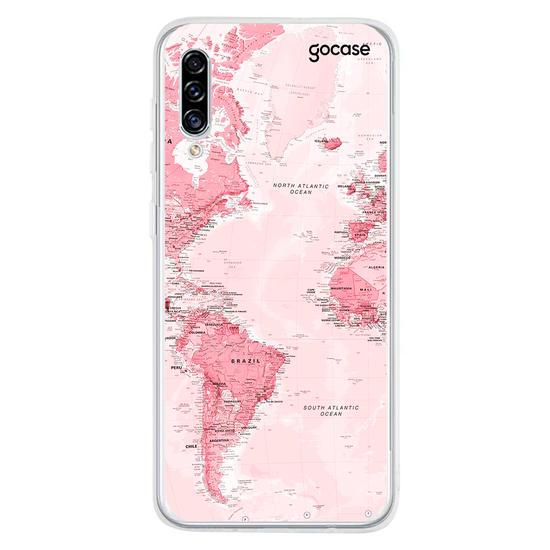 Capinha para celular Mapa Mundi Rosa