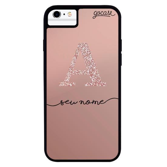 Capinha para celular Metallic Cobre - Iniciais Glitter - Rosê Clean