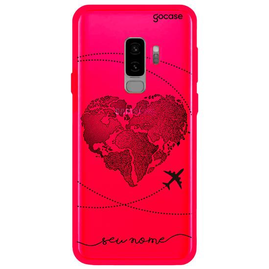 Capinha para celular Neon -  Coração Mapa Mundi (Black)