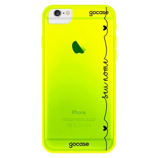 Capinha para celular Neon -  Corações com Nome Vertical