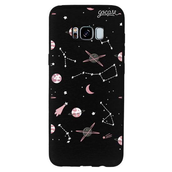 Capinha para celular Color Black - Pink Planets