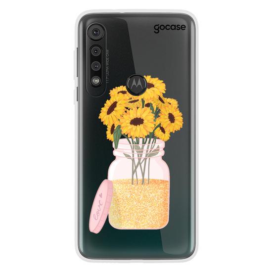 Capinha para celular Pote de Girassóis Customizável