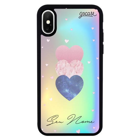 Capinha para celular Prime Holo - Fancy Hearts Clean Customizável