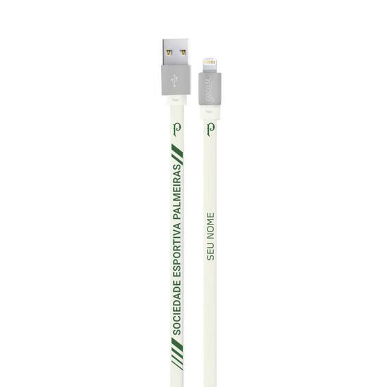 Cabo iPhone Lightning Personalizado Gocase (Certificado Apple) - Palmeiras - Cabo White - Personalizado
