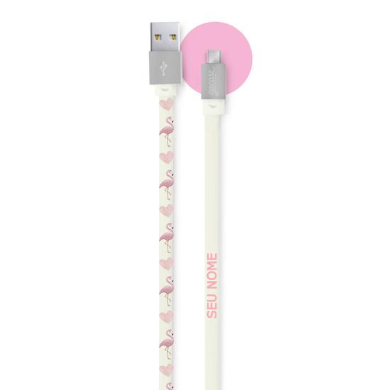 Cabo Android Micro USB Personalizado Gocase - Flamingos