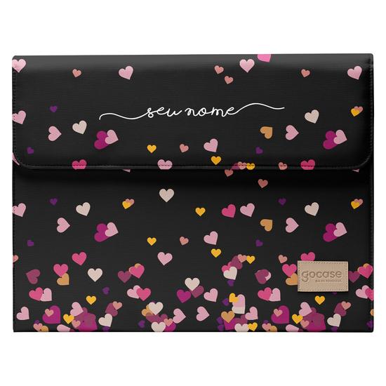 """Capa Para Notebook Flat Personalizada - Corações Flutuantes Black (13'' - 15""""')"""
