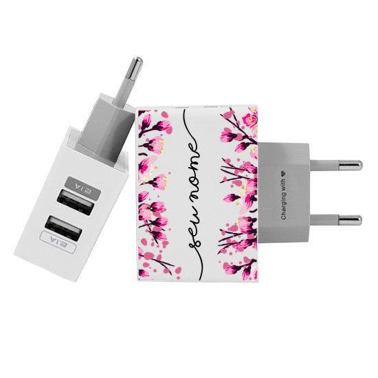 Carregador Personalizado iPhone/Android Duplo USB de Parede Gocase - Flor de Cerejeira Manuscrita