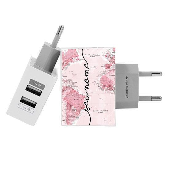 Carregador Personalizado iPhone/Android Duplo USB de Parede Gocase - Mapa Mundi Rosa Manuscrita