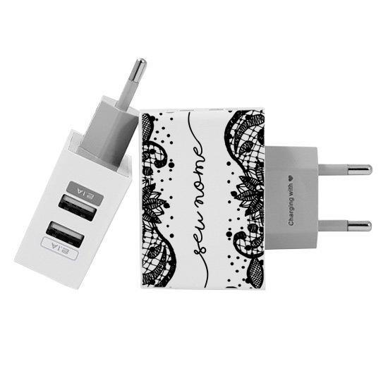 Carregador Personalizado iPhone/Android Duplo USB de Parede Gocase - Renda Black Manuscrita