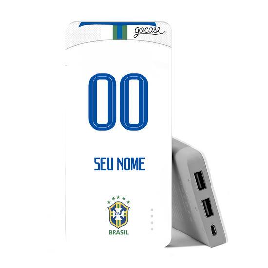 Carregador Portátil Power Bank (10000mAh) - Seleção Brasileira - Uniforme Branco