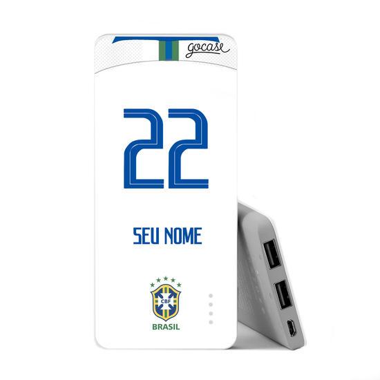 Carregador Portátil Power Bank Slim (5000mAh) - Seleção Brasileira - Uniforme Branco