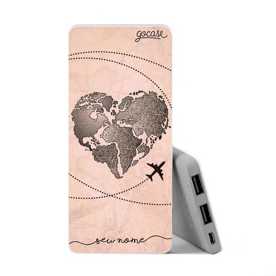 Carregador Portátil Power Bank Slim (5000mAh) - Coração Mapa Mundi Vintage