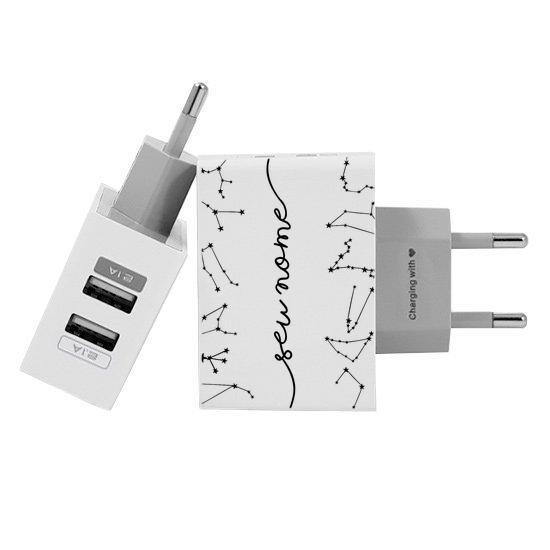 Carregador Personalizado iPhone/Android Duplo USB de Parede Gocase - A Culpa é do Signo Manuscrita by Bruna Vieira