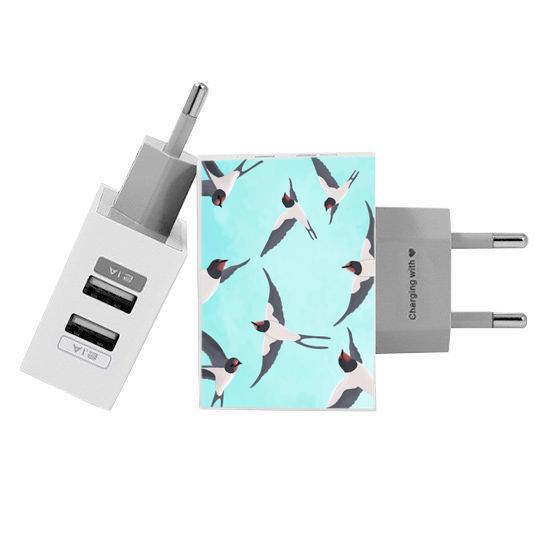 Carregador Personalizado iPhone/Android Duplo USB de Parede Gocase - Andorinhas by Bruna Vieira