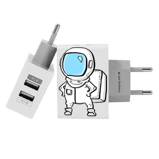Carregador Personalizado iPhone/Android Duplo USB de Parede Gocase - Astronauta
